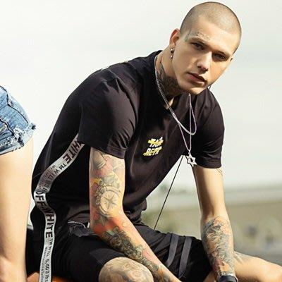 短袖 T恤 休閒上衣-時尚有型側邊織帶男打底衫2色73sq10[獨家進口][米蘭精品]