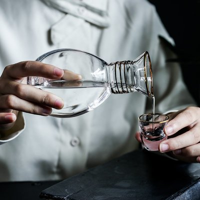 爆款酒具加點樂 復古描金玻璃酒具一壺六杯酒壺酒杯套裝白酒分酒器七件套