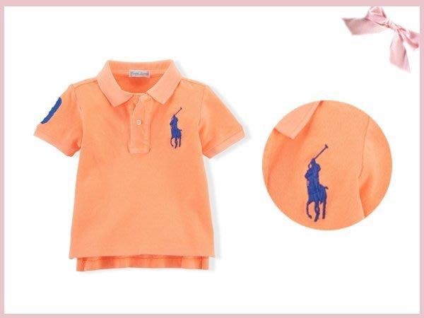 【童夢屋】RALPH LAUREN螢光橘.寶藍大馬短袖polo衫.上衣24M.5T【8897860797】~6