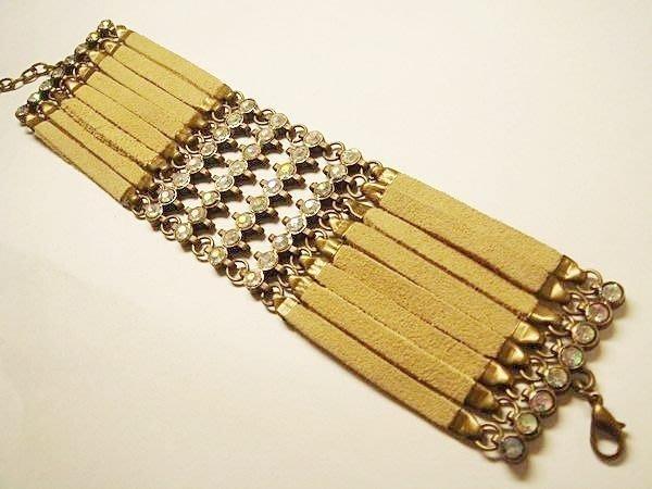 全新美國帶回民族風土色(仿)几皮鑲透明珠珠手鍊手環,低價起標無底價!本商品免運費!