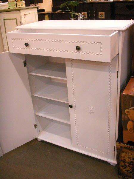 美生活館--新品上市--英式古典白色單抽雙門鞋櫃/收納櫃/玄關櫃/置物櫃