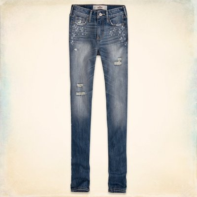 【天普小棧】HOLLISTER HCO High Rise Super Skinny Jeans高腰牛仔褲水鑽23/25