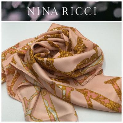 【皮老闆二店】二手真品  NINA RICCI  絲巾 披巾 86*86  Z674