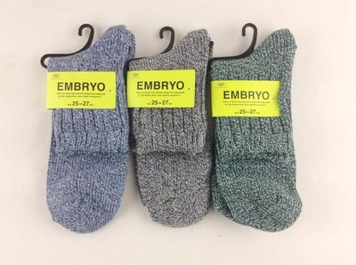 *平井涼子*日本EMBRYO 粗針編織 淡色系 25-27 短襪
