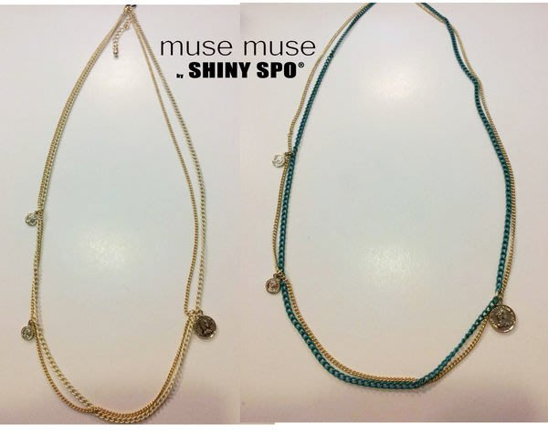 .SHiNY SPO.獨家代理日本VIVI品牌muse muse復古簡約波西米亞風金幣吊飾雙色雙環秀氣細項鍊