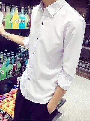 白襯衫男長袖韓版潮流修身素面襯衣---初服