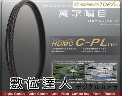 【數位達人】SUNPOWER TOP1 CPL 43MM多層鍍膜偏光鏡Canon EFM 22mm 可用
