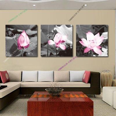 【50*50cm】【厚1.2cm】粉蓮花-無框畫裝飾畫版畫客廳簡約家居餐廳臥室牆壁【280101_345】(1套價格)