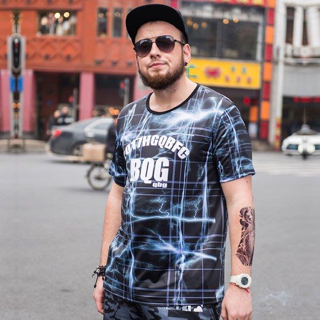 FINDSENSE品牌監製 大尺碼男裝 3D閃電格紋滿版短袖T恤冰絲薄款個性印花短袖夏季男大尺碼寬鬆透氣T恤速乾排汗T