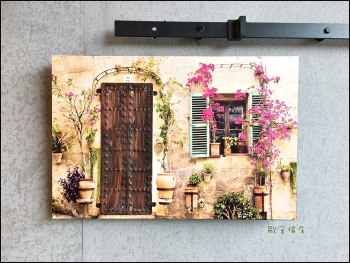 復古立體無框畫木板畫 仿舊綠色鐵窗咖啡色大門壁飾40*60公分 紅色藤蔓壁畫牆壁裝飾畫掛畫蓋電箱鄉村風仿古畫【歐舍傢居】