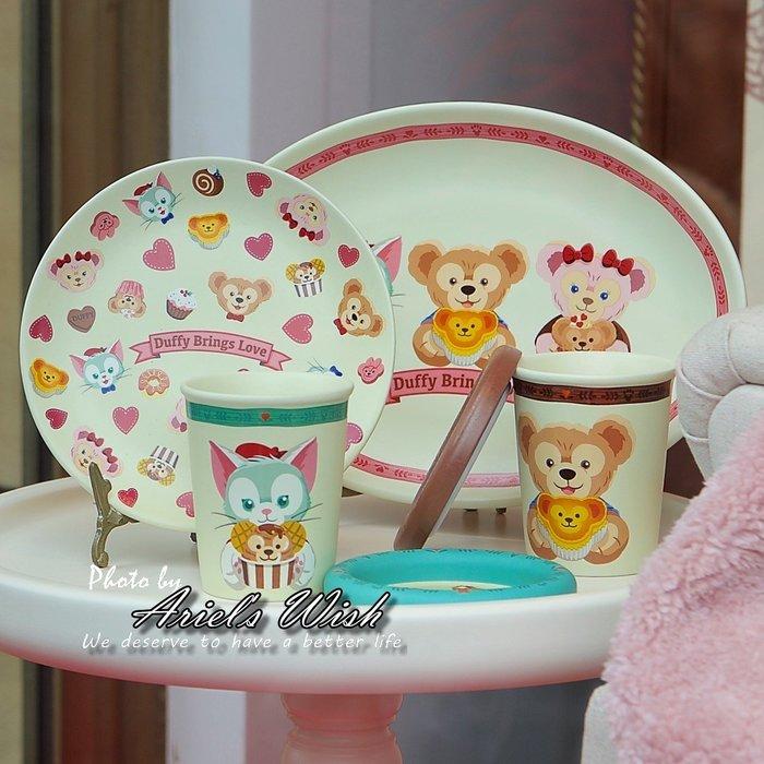 Ariel's Wish-日本東京迪士尼Duffy Shelliemay達菲熊雪莉玫傑拉東尼情人節甜點圓形餐盤子-現貨