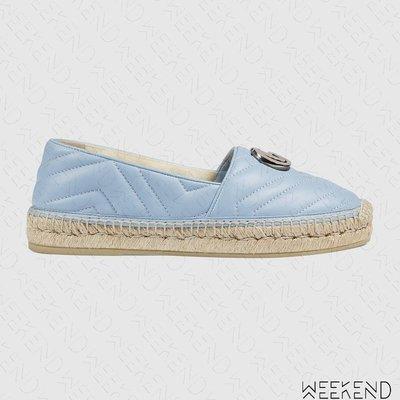 【WEEKEND】 GUCCI GG 皮革 草編鞋 平底鞋 娃娃鞋 藍色 628086