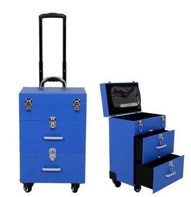 【優上】豪華萬向輪拉桿化妝箱拉桿箱專業大號多層收納箱紋繡工具箱藍色雙抽屜