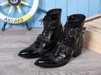 個性時裝男皮鞋 歐美復古馬丁高幫靴尖頭時尚增高男靴子韓版高跟真皮鉚釘時尚潮靴