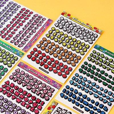 ❅PAVEE❅韓國wannathis~ Kitsch Hologram 咕卡手帳手機 閃閃雷射 3D立體數字字母貼紙