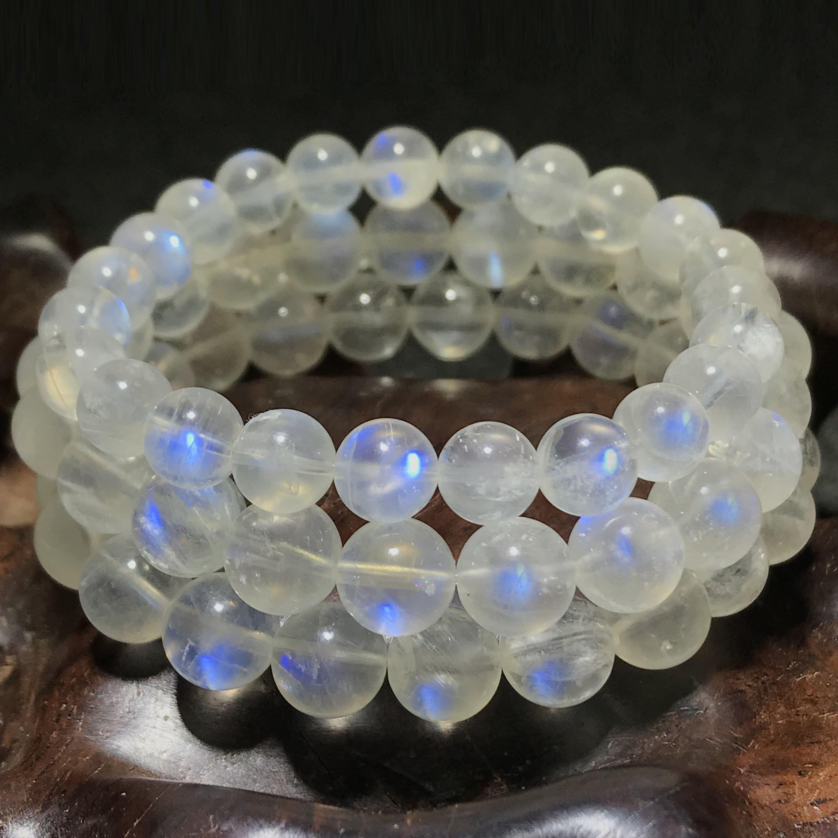 【月壺】一物一圖5A天然藍月光石手鏈女款飾品奶油體月光石簡約手串強藍光