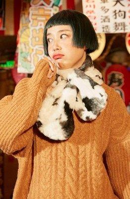 【黑店】原創設計 自製款乳牛花紋黑白短圍巾 毛毛圍巾舒服短圍巾 百搭單品 乳牛紋絨毛脖圍 YR127