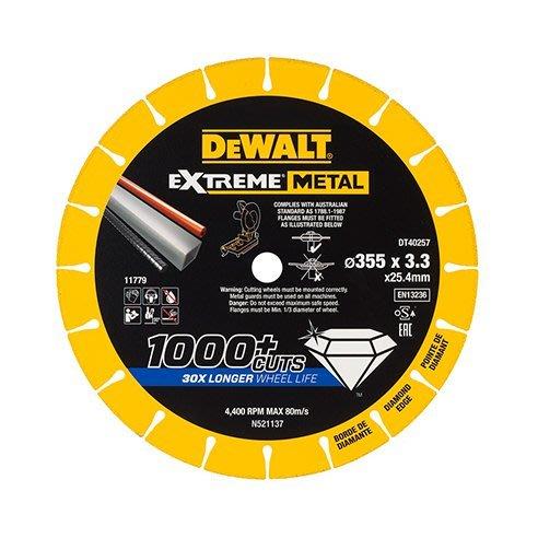 """【大黃工具】美國 DEWALT 得偉 14吋鑽石鋸片 規格 14""""金屬鋸片 切割鋸片 鐵管白鐵 金屬切片 DT40257"""
