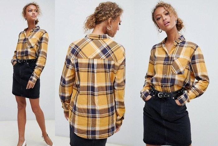 ◎美國代買◎ASOS黃藍格紋印花斜紋口袋裝飾復古甜心時尚街風雙子格子襯衫上衣~歐美街風~大尺碼