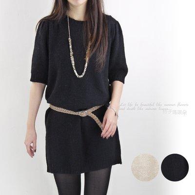 正韓 韓國連線 粗毛線針織短袖毛衣洋裝 ~桔子瑪琪朵