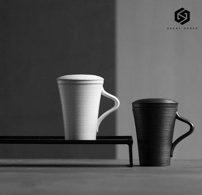 #505 粗陶馬克杯過濾帶蓋陶瓷茶杯創意杯子簡約大容量日式家用水杯個性