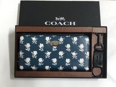 (新款禮盒附鑰匙圈、鏡子)Coach 蔻馳 53026 新款玫瑰花卉拉鍊女士皮夾 長夾 手拿包 附購買證明
