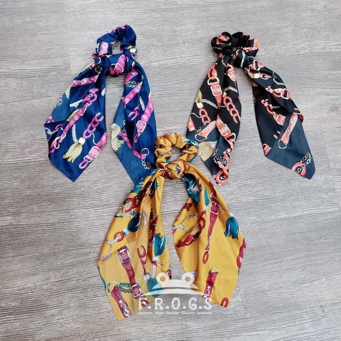 F.R.O.G.S F0542歐美簡約街拍名媛鍊條娜娜款飄帶造型髮圈髮束髮繩髮飾皮筋大腸圈馬尾女孩(現+預)