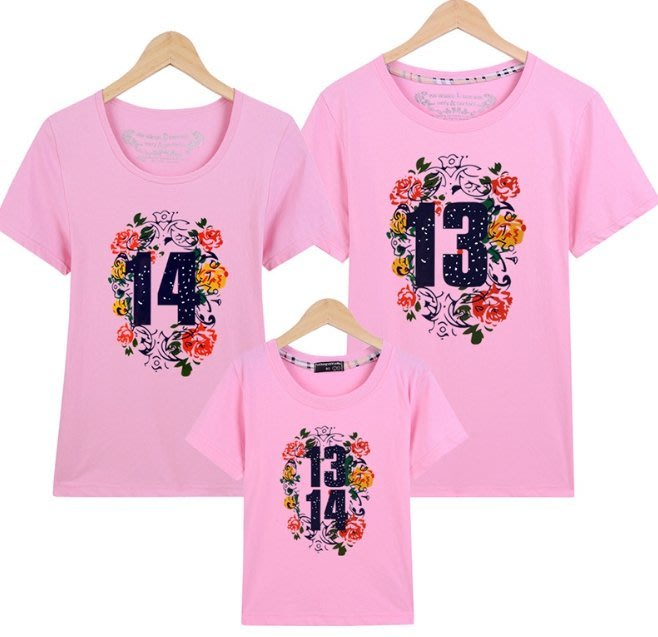 成人 一生一世1314 純棉t恤 情侶t恤 短袖T恤 親子裝 親子t恤 母女裝 全家裝 團服體 班服 一家三口 一家四口