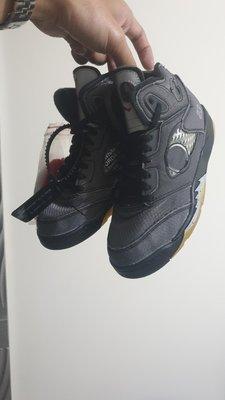 台灣公司貨 Off-White™ x Air Jordan 5 Nike 聯名 全新 aj5 黑色 2y 21cm 中童鞋