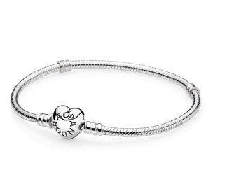 美國代購)PANDORA  Heart Clasp 潘朵拉 純銀心型扣手鍊 蛇骨鍊 17-23cm (女 禮物