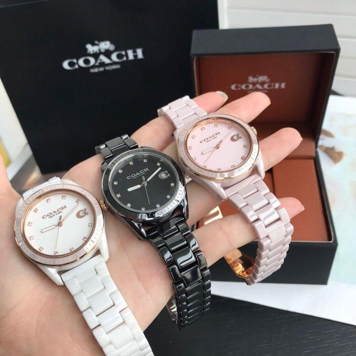 小皮美國代購 COACH 新款Preston系列女士手錶 水晶鑽石時標 新型陶瓷錶帶 簡約大方 三色可選