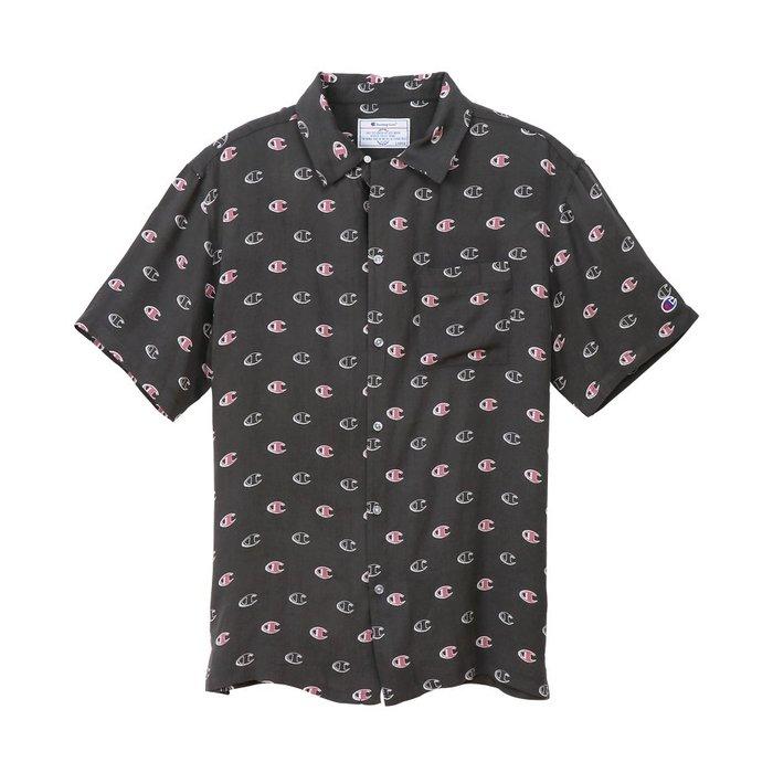 [CABAS滑板店] CHAMPION CAMPUS SHIRT 黑色 │滿版 經典 LOGO 短袖 襯衫