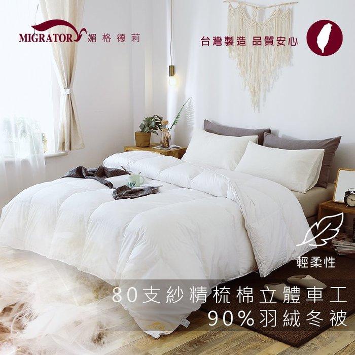 80支精梳棉立體車工90%羽絨冬被加大8*7尺台灣製