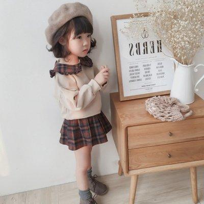 gogo購 秋冬英倫風娃娃領長袖上衣格子短裙套裝1080912