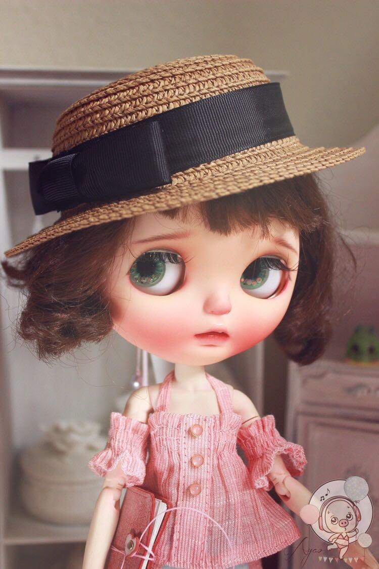 小布blythe黑色蝴蝶結小禮帽 小布草帽帽子 小布娃衣夏日沙灘帽