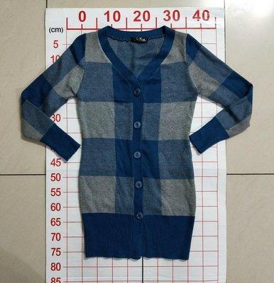 Send 藍色格紋長袖針織外套 修身顯瘦長版針織外套