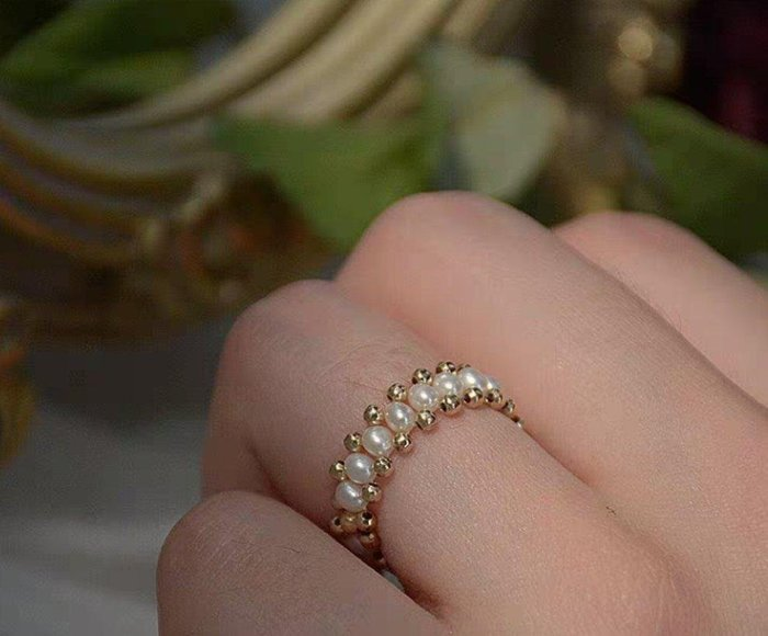 ZJ 原創設計14k包金天然淡水珍珠戒指 情人節禮物 生日禮物 禮盒裝