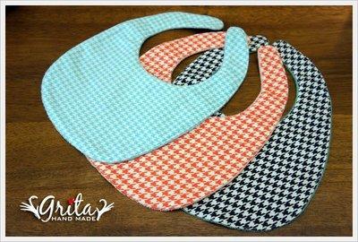 ♥gritas handmade♥純棉手作嬰幼兒圍兜兜/領巾/口水巾/三角巾/彌月禮—千鳥紋系列