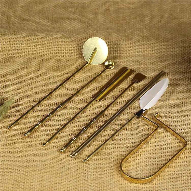 新款香道用板工具 恫本色七件套 打拓空熏香篆入門套裝 灰押香勺香鏟筷