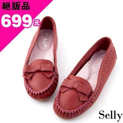 Selly outlet (03Q36)好穿經典款‧俏麗蝴蝶結雕花全牛皮平底便鞋 *紅色41號
