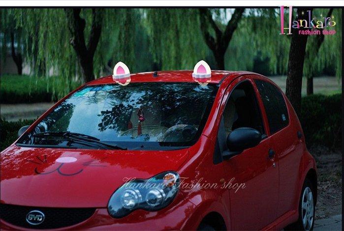 ☆[Hankaro]☆ 創意發光貓耳朵造型磁性車用裝飾(一對)