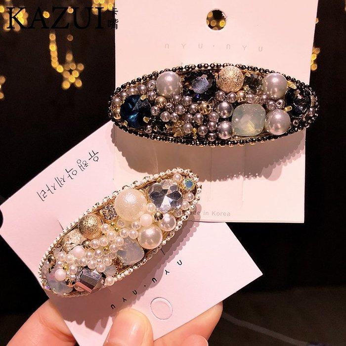 韓國水鉆新款頭飾高檔復古水晶巴洛克珍珠彈簧夾彩色寶石發夾頂夾