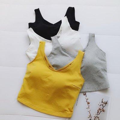 百搭素色露臍短版小背心女修身顯瘦胸墊式外穿運動健身背心上衣