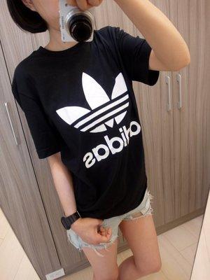 Adidas Originals 愛迪達 三葉草 AJ8830 黑色 黑白 洋裝 基本款 長版圓領T桖短袖t桖短t/澤米