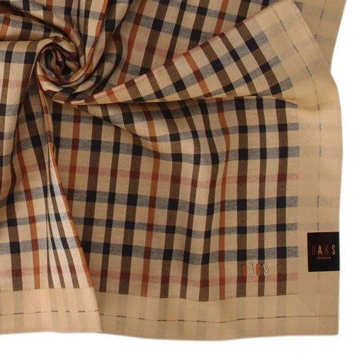 【姊只賣真貨】DAKS經典格紋LOGO刺繡領巾手帕帕巾(駝邊)父親節88節禮物