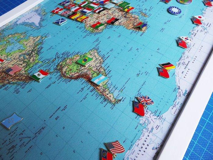 【國旗徽章達人】世界地圖國旗別針組合/徽章/胸章/胸針/勳章/獎章