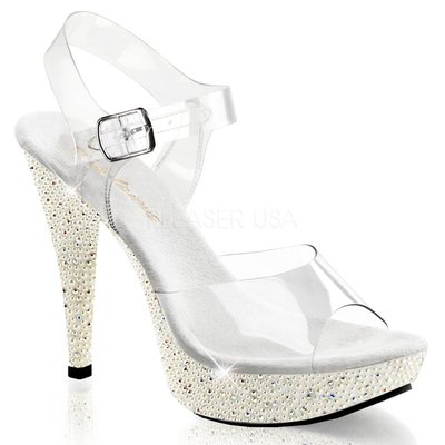 Shoes InStyle《五吋》美國品牌 FABULICIOUS 原廠正品透明珍珠厚底高跟涼鞋有大尺碼出清『象牙白色』