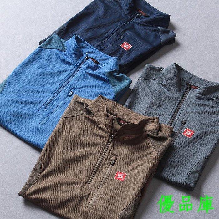 優品庫外貿夏季男士時尚撞色戶外運動休閒透氣網眼拼接速干短袖t恤