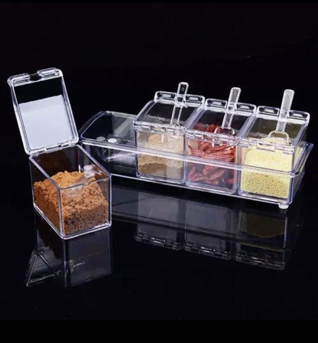 透明4格塑膠調料盒調味罐套装 厨房味精鹽巴罐調味盒調料罐廚房用品居家生活主婦 不佔空間收納調味料罐試特價