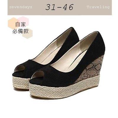 大尺碼女鞋小尺碼女鞋素面百搭舒適魚口動物紋厚底楔型鞋涼鞋兩色黑色(31-4546)現貨#七日旅行